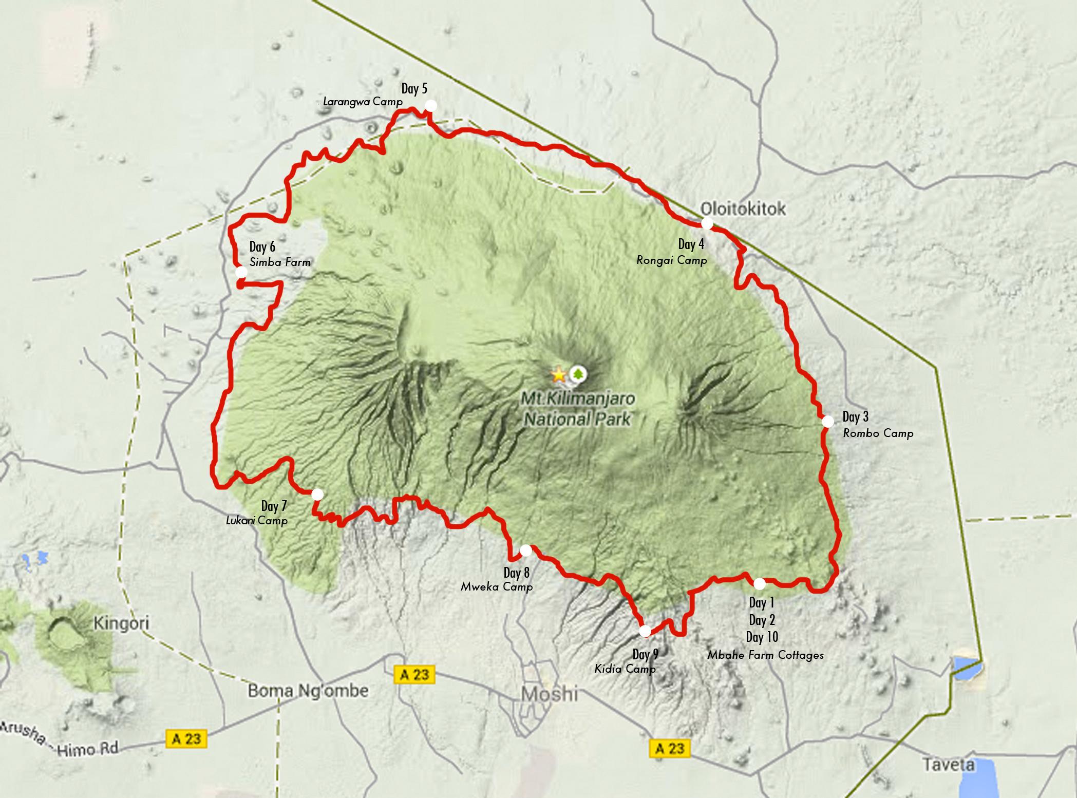 Detailed Itinerary Kilimanjaro Stage Run