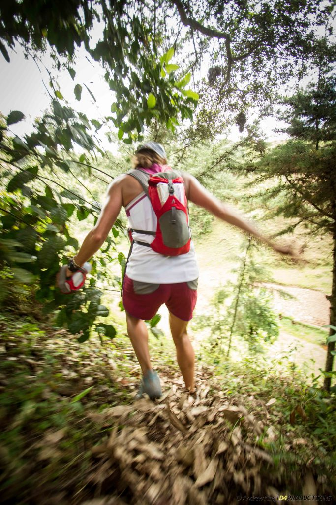 Krissy Mohel and her hydration backpack