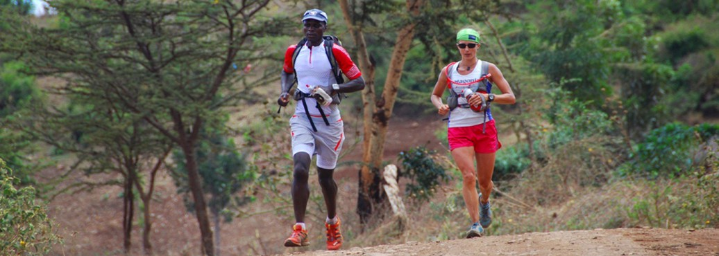 Simon Mtuy and Krissy Mohel running on KSR route